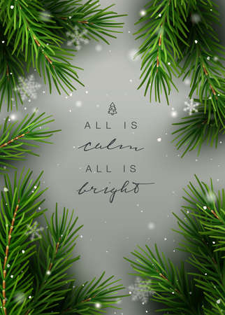 Elegant Christmas background, frame, with fir tree cuttings, snowflakes and hand lettering. Vector Illustration. Stock Illustratie
