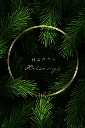 Christmas frame with fir tree branches and hand lettering. Vector Illustration.