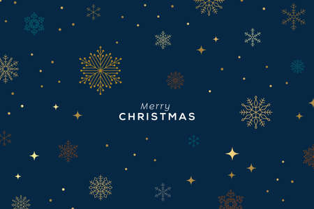 Holiday background, banner, frame, header, background or greeting card design with snowflakes over dark blue and typography. Vector Illustration.