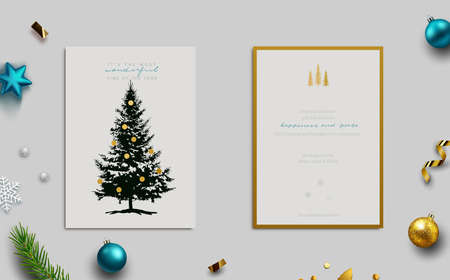 Holiday Greeting card, front and back view. Conifer tree with gold ornaments. View including background with baubles, fir tree cuttings, glitter and confetti. Vector Illustration.