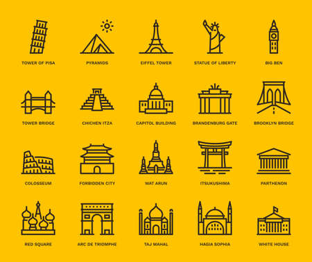 International Landmarks and Monuments, Monoline concept. The icons were created on a 48x48 pixel aligned, perfect grid providing a clean and crisp appearance. Adjustable stroke weight. Illustration