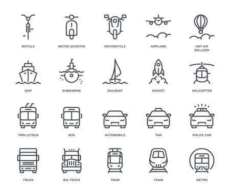 Transportation Icons,  Front View, part I. Monoline conceptThe icons were created on a 48x48 pixel aligned, perfect grid providing a clean and crisp appearance. Adjustable stroke weight.