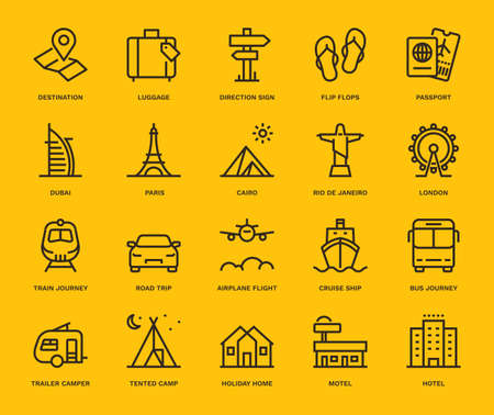 Summer and Holidays Icons, Monoline concept.The icons were created on a 48x48 pixel aligned, perfect grid providing a clean and crisp appearance. Adjustable stroke weight.