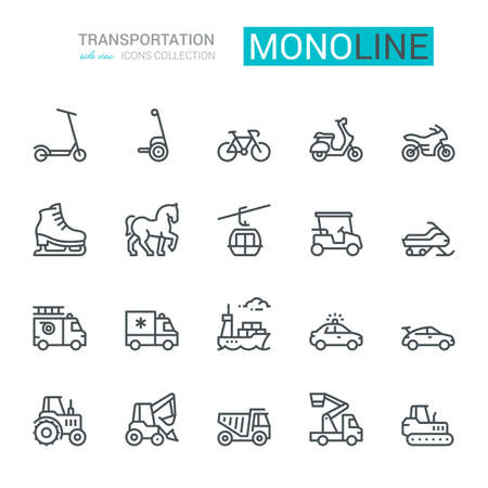 Transportation Icons, side view, part I.  Monoline concept.The icons were created on a 48x48 pixel aligned, perfect grid providing a clean and crisp appearance. Adjustable stroke weight.