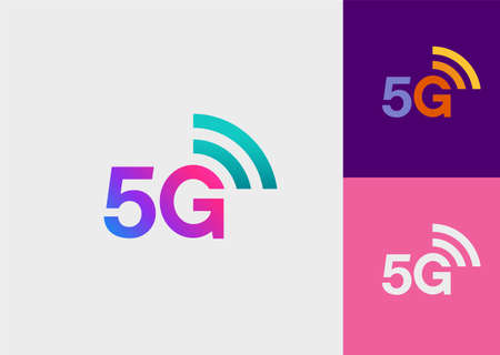 Fifth generation wireless network technology logo in three different versions (gradient, color and solid).