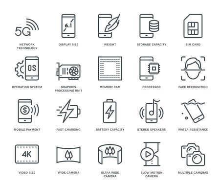 Smartphone Specification Icons. Monoline concept