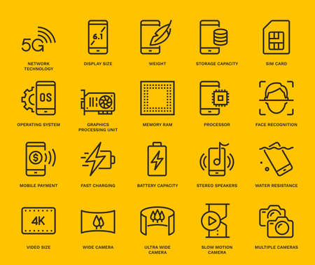 Smartphone Specification Icons. Monoline conceptThe icons were created on a 48x48 pixel aligned, perfect grid providing a clean and crisp appearance. Adjustable stroke weight.