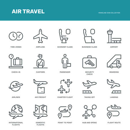 Air Travel Icons. Monoline conceptThe icons were created on a 48x48 pixel aligned, perfect grid providing a clean and crisp appearance. Adjustable stroke weight.