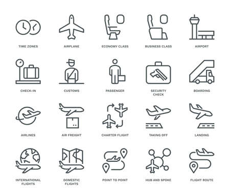Air Travel Icons, Monoline conceptThe icons were created on a 48x48 pixel aligned, perfect grid providing a clean and crisp appearance. Adjustable stroke weight.