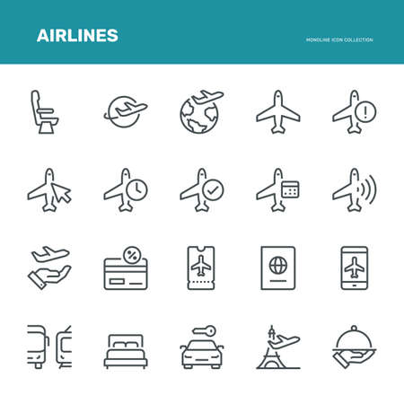 Airlines Icons,  Monoline conceptThe icons were created on a 48x48 pixel aligned, perfect grid providing a clean and crisp appearance. Adjustable stroke weight. Vettoriali