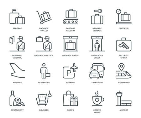 Airport Information Icons, Monoline conceptThe icons were created on a 48x48 pixel aligned, perfect grid providing a clean and crisp appearance. Adjustable stroke weight.
