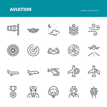 Aviation Icons,  Monoline conceptThe icons were created on a 48x48 pixel aligned, perfect grid providing a clean and crisp appearance. Adjustable stroke weight. Vettoriali