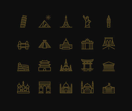International Landmarks and Monuments, Monoline concept. The icons were created on a 48x48 pixel aligned, perfect grid providing a clean and crisp appearance. Adjustable stroke weight.