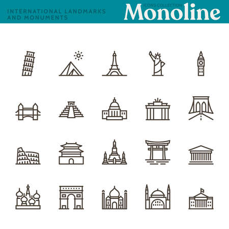 International Landmarks and Monuments, Monoline concept. The icons were created on a 48x48 pixel aligned, perfect grid providing a clean and crisp appearance. Adjustable stroke weight. Vettoriali