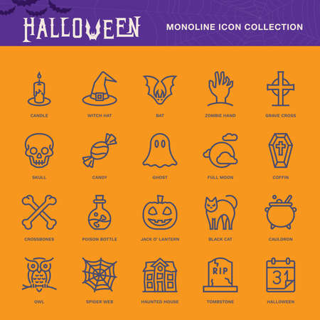 Halloween, Monoline conceptThe icons were created on a 48x48 pixel aligned, perfect grid providing a clean and crisp appearance. Adjustable stroke weight.