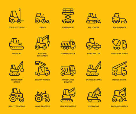 Industrial Vehicles Icons,  Monoline concept.The icons were created on a 48x48 pixel aligned, perfect grid providing a clean and crisp appearance. Adjustable stroke weight.