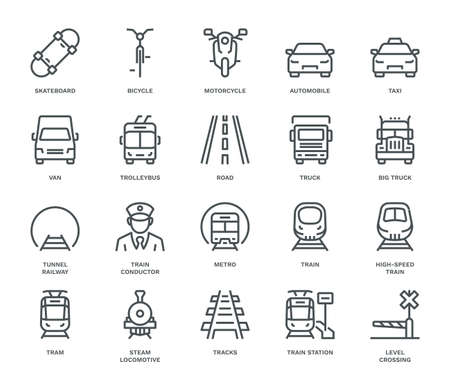 Land Transport Icons, oncoming/front view,  Monoline concept. The icons were created on a 48x48 pixel aligned, perfect grid, providing a clean and crisp appearance. Adjustable stroke weight.
