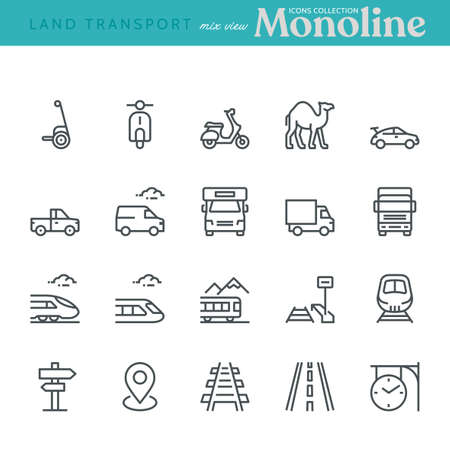 Land Transport Icons, mixed view,  Monoline concept. The icons were created on a 48x48 pixel aligned, perfect grid, providing a clean and crisp appearance. Adjustable stroke weight. Vettoriali