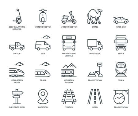 Land Transport Icons, mixed view,  Monoline concept. The icons were created on a 48x48 pixel aligned, perfect grid, providing a clean and crisp appearance. Adjustable stroke weight. Illustration