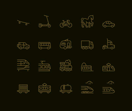 Land Transport Icons, side view,  Monoline concept. The icons were created on a 48x48 pixel aligned, perfect grid, providing a clean and crisp appearance. Adjustable stroke weight. Vettoriali