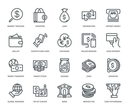 Money Icons, Monoline concept. The icons were created on a 48x48 pixel aligned, perfect grid, providing a clean and crisp appearance. Adjustable stroke weight.