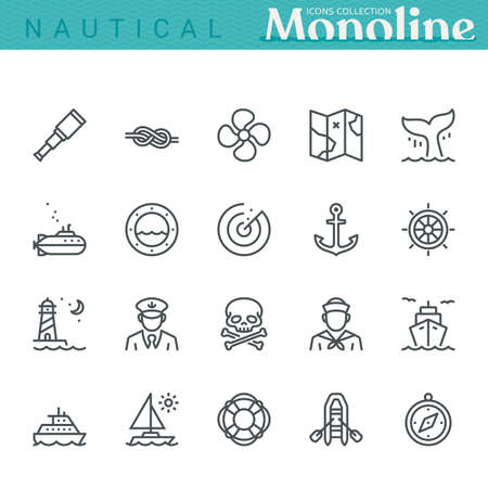 Nautical Icons,  Monoline concept.
