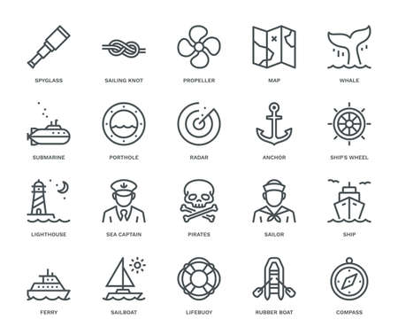 Nautical Icons,  Monoline concept.The icons were created on a 48x48 pixel aligned, perfect grid providing a clean and crisp appearance. Adjustable stroke weight.