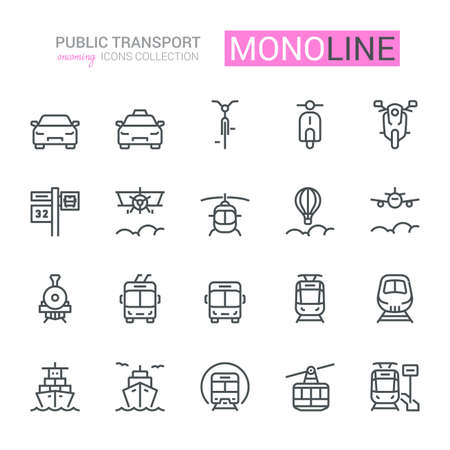 Public Transport Icons, oncoming/front view,  Monoline concept. The icons were created on a 48x48 pixel aligned, perfect grid providing a clean and crisp appearance. Adjustable stroke weight.