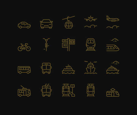 Public transport Icons, mix view. Monoline concept.The icons were created on a 48x48 pixel aligned, perfect grid providing a clean and crisp appearance. Adjustable stroke weight.
