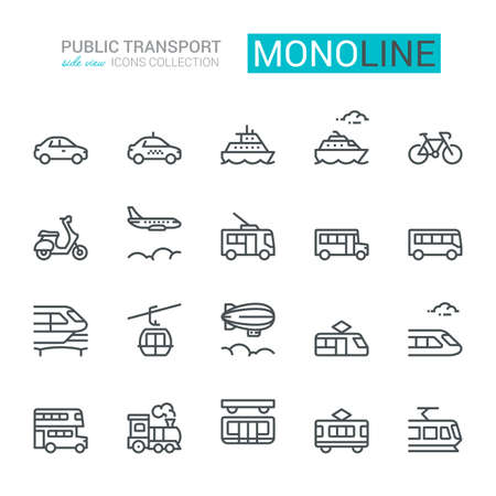 Public transport Icons, side view. Monoline concept.