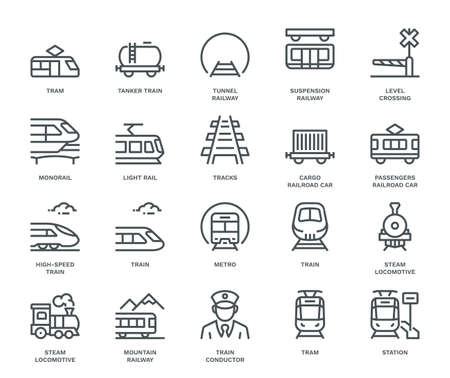 Rail Transport Icons,  Monoline conceptThe icons were created on a 48x48 pixel aligned, perfect grid providing a clean and crisp appearance. Adjustable stroke weight.