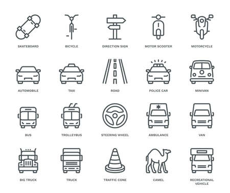 Road Transport Icons, oncoming/front view. Monoline conceptThe icons were created on a 48x48 pixel aligned, perfect grid providing a clean and crisp appearance. Adjustable stroke weight. Illustration