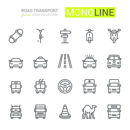 Road Transport Icons, oncoming/front view. Monoline conceptThe icons were created on a 48x48 pixel aligned, perfect grid providing a clean and crisp appearance. Adjustable stroke weight. Vettoriali