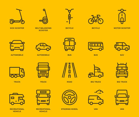 Road Transport Icons, Mix View.  Monoline conceptThe icons were created on a 48x48 pixel aligned, perfect grid providing a clean and crisp appearance. Adjustable stroke weight. Vettoriali