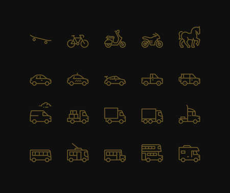 Road Transport Icons, Side View. Monoline conceptThe icons were created on a 48x48 pixel aligned, perfect grid providing a clean and crisp appearance. Adjustable stroke weight.