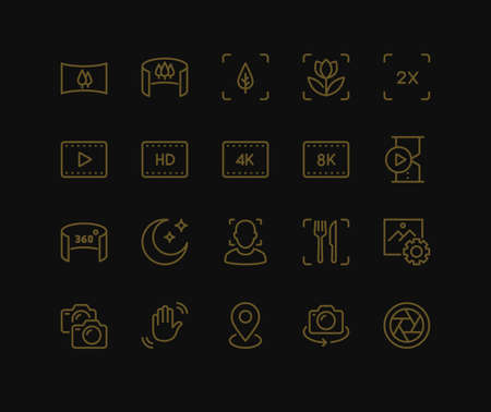 Smartphone Camera Icons. Monoline conceptThe icons were created on a 48x48 pixel aligned, perfect grid providing a clean and crisp appearance. Adjustable stroke weight.