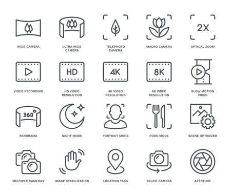 Smartphone Camera Icons. Monoline conceptThe icons were created on a 48x48 pixel aligned, perfect grid providing a clean and crisp appearance. Adjustable stroke weight. Ilustración de vector