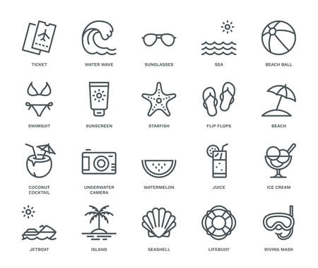 Summer and Holidays Icons, Monoline concept.The icons were created on a 48x48 pixel aligned, perfect grid providing a clean and crisp appearance. Adjustable stroke weight. Vettoriali