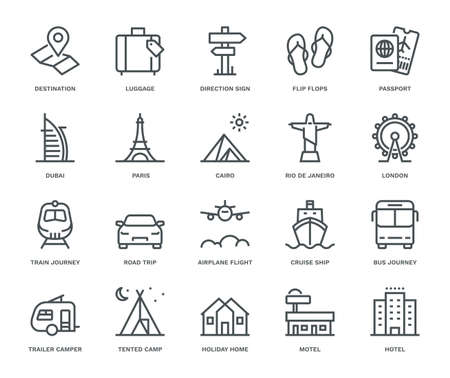 Travel and Holidays Icons,  Monoline concept