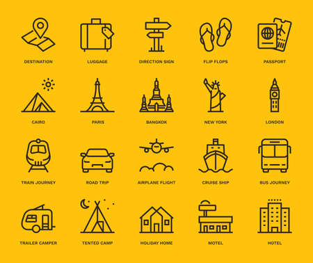 Travel and Holidays Icons,  Monoline conceptThe icons were created on a 48x48 pixel aligned, perfect grid providing a clean and crisp appearance. Adjustable stroke weight. Vettoriali