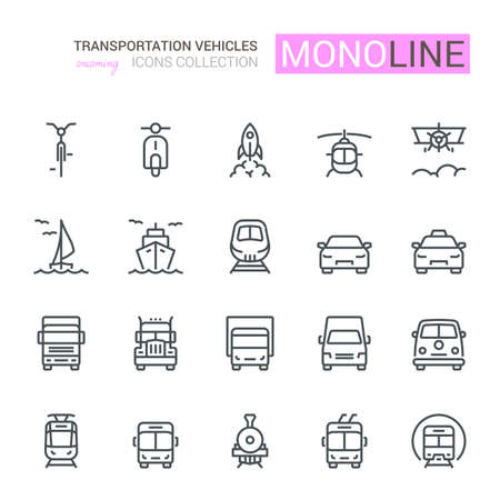Transport Icons, Front View, part II. Monoline concept.The icons were created on a 48x48 pixel aligned, perfect grid providing a clean and crisp appearance. Adjustable stroke weight.