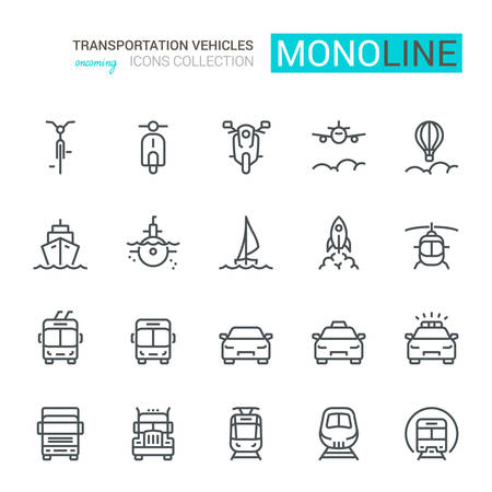 Transportation Icons, Front View, part I. Monoline conceptThe icons were created on a 48x48 pixel aligned, perfect grid providing a clean and crisp appearance. Adjustable stroke weight. Vektoros illusztráció