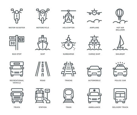 Transportation Icons,  front View, part III. Monoline conceptThe icons were created on a 48x48 pixel aligned, perfect grid providing a clean and crisp appearance. Adjustable stroke weight. Vettoriali