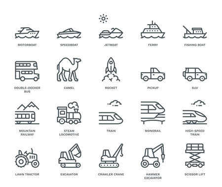 Transportation Icons, side view, part III.  Monoline conceptThe icons were created on a 48x48 pixel aligned, perfect grid providing a clean and crisp appearance. Adjustable stroke weight.