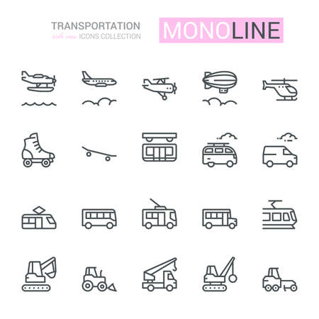 Transportation Icons, side view, part IV. Monoline concept