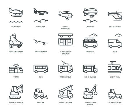 Transportation Icons, side view, part IV. Monoline conceptThe icons were created on a 48x48 pixel aligned, perfect grid providing a clean and crisp appearance. Adjustable stroke weight.