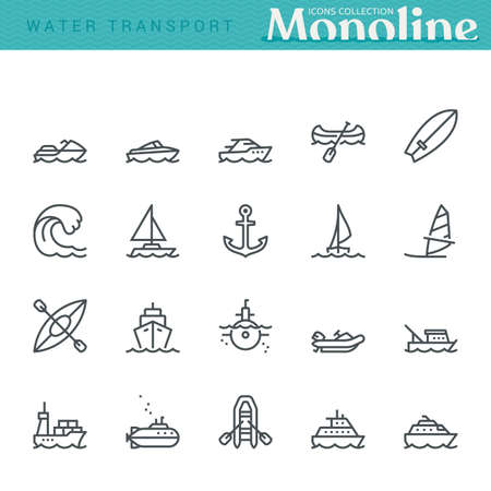 Water Transport Icons,  Monoline conceptThe icons were created on a 48x48 pixel aligned, perfect grid providing a clean and crisp appearance. Adjustable stroke weight.