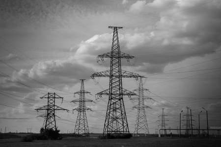 b and w: B W Electricity Power Lines pylons Stock Photo