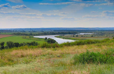 ukraine or russia river and bridge landscape photo