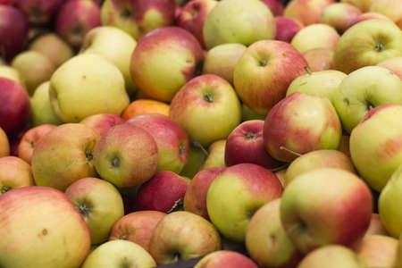 tiendas de comida: mucho verde un manzanas rojas Foto de archivo